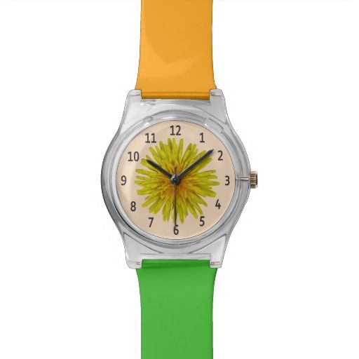 Yellow Dandelion Flower Black Digits on any Color Watch