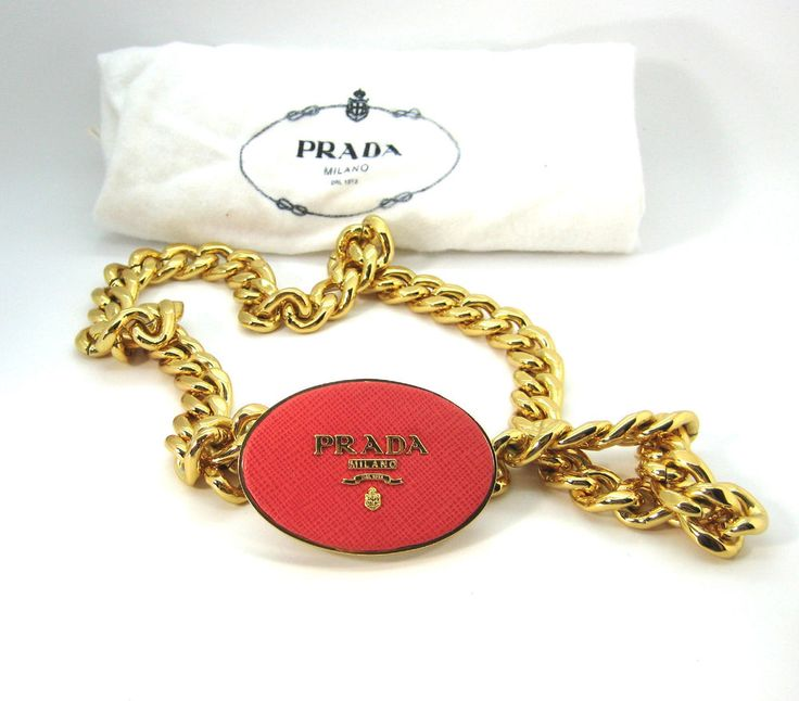 AUTHENTIC PRADA Gold Chain Link Belt Coral Leather Buckle ...