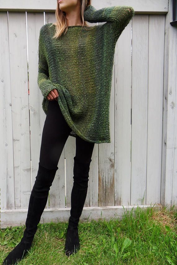 Oversized/ Slouchy/ Loose knit sweater. Alpaca chunky knit