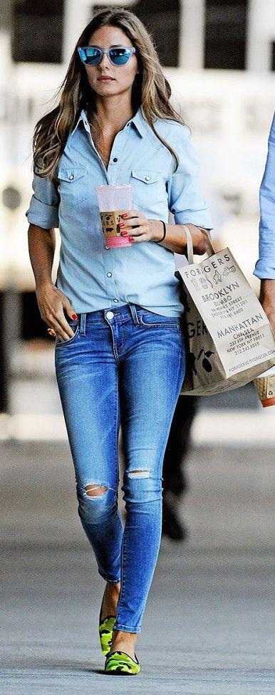 #street #fashion Olivia Palermo denim-on-denim @wachabuy