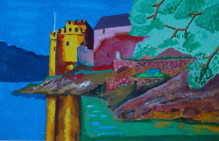 Dartmouth Castle painted in gouache