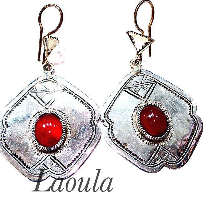 Boucles d'oreilles ethniques argent, bijoux Touareg feuille 253675