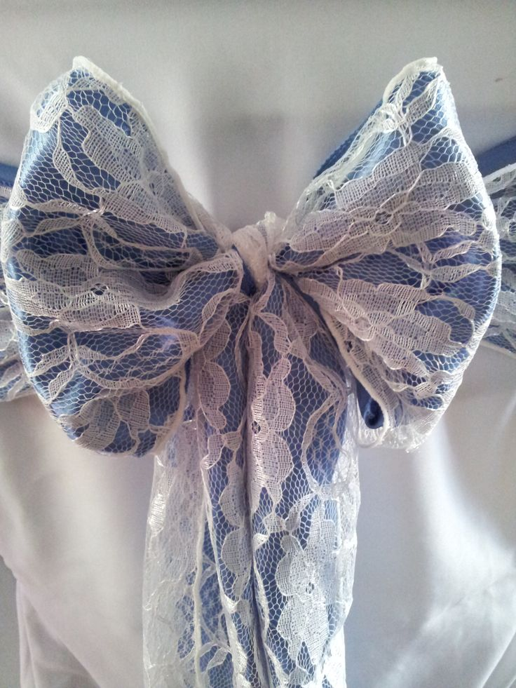 Perwinkle Blue Satin and Lace Bows on White Chair Covers  The Sophisticated Touch ...Chair Covers by Design
