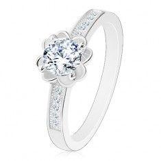 925 ezüst eljegyzési gyűrű, átlátszó csillogó virág, díszített szárak