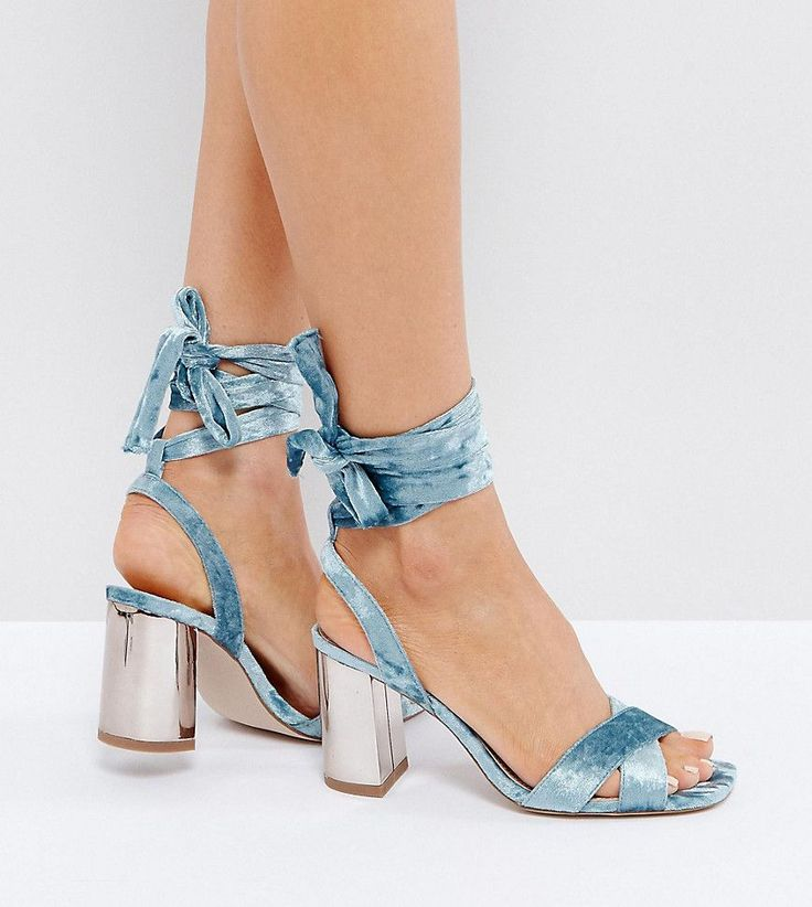 ASOS HONEYMOON Wide Fit Velvet Tie Leg Sandals - Blue