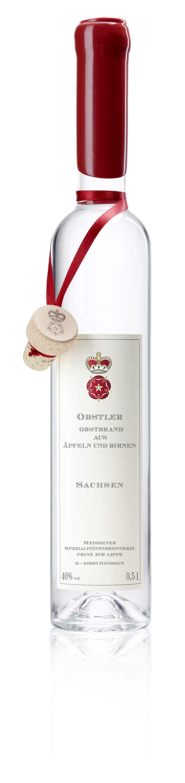 """Obstler """"Obstbrand aus Äpfeln und Birnen"""" / 40% / 0,5l http://www.flaschenhandel.com/Meissener-Obstler-Obstbrand-aus-AEpfeln-und-Birnen"""