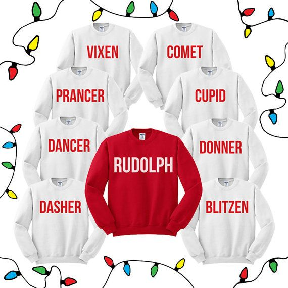 Christmas Reindeer Crewneck Sweater Group by TeesAndTankYouShop