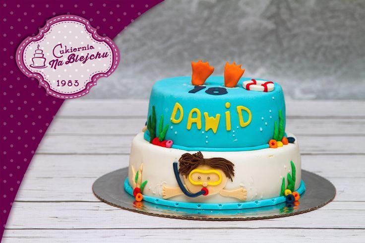 Tort w stylu angielskim, tort dla nurka, tort dla pływaka, tort morski, tort dla dziecka, dziecięcy tort urodzinowy