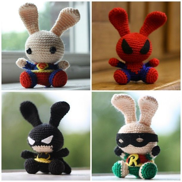 "Super cute superheroes Bunnies ( Adapted from the ""Spring Bunnies"" Pattern) Free Amigurumi Pattern: -  Click here to get Free PDF File: http://makezineblog.files.wordpress.com/2011/04/pattern132_spring-bunny.pdf"