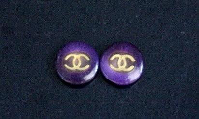 Purple Chanel Buttons Handmade Stud EarringsSmall  by Bijouxhouse, $30.00