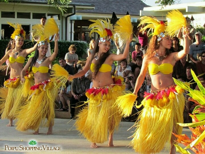 Hula show in Poipu Shopping Village