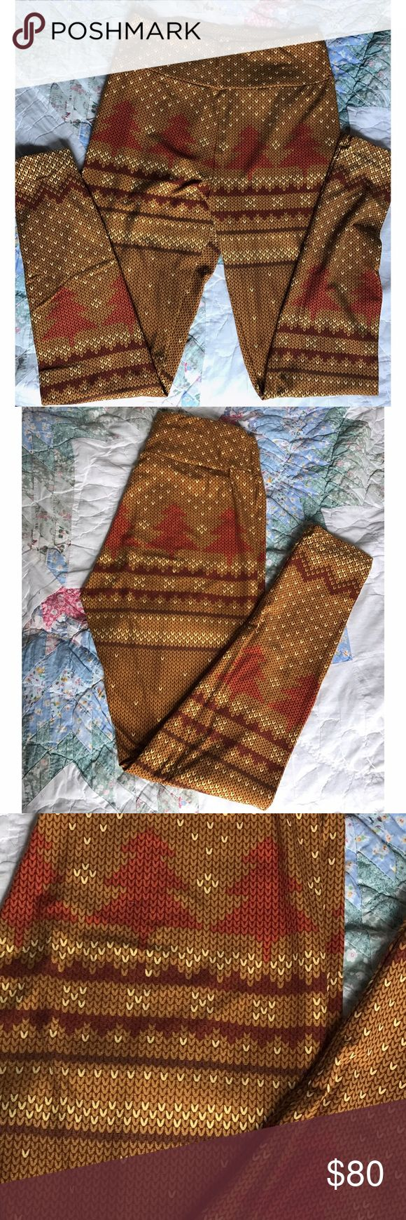 """RARE UNICORN LLR Christmas Tree Holiday Leggings! Super rare """"knit"""" Christmas Tree print leggings in browns and golds. Only worn twice. Get them while you can!  LuLaRoe Pants Leggings"""