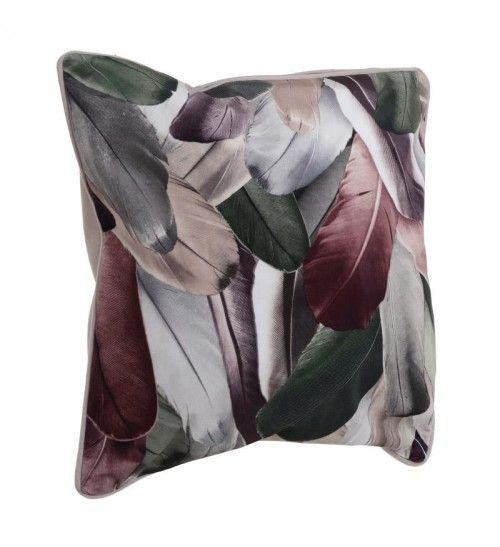 VELVET PILLOW 'FEATHERS' IN PINK 45X45