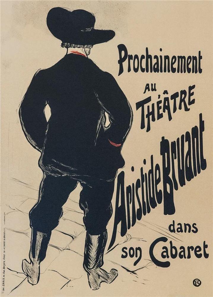 Toulouse Lautrec Aristide Bruant Dans Son Cabaret Poster Lithograph COA S2 Art  #ArtNouveau