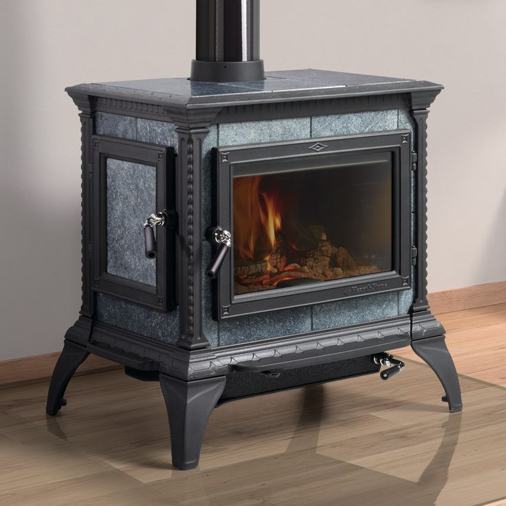 "Hearthstone's ""Heritage"" Soapstone Wood Stove Shown with Polished Soapstone and Matte Black"