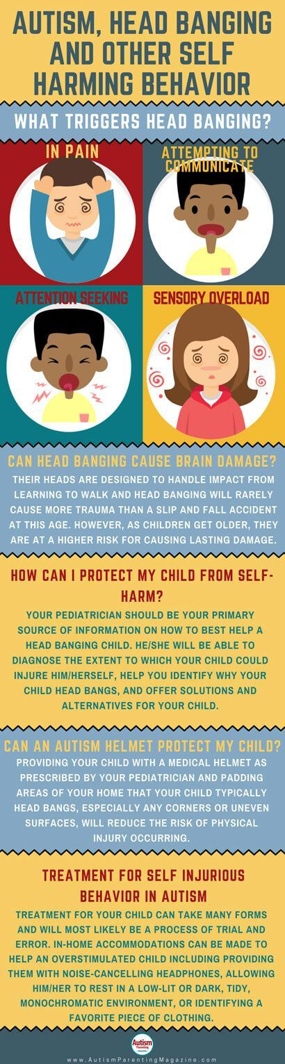 Autism, Head Banging and other Self Harming Behavior https://www.autismparentingmagazine.com/autism-self-harm