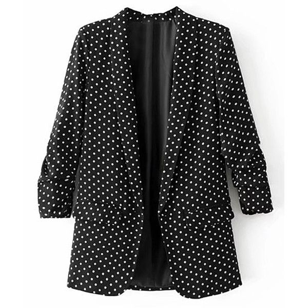 SheIn(sheinside) Polka Dot Open Front Blazer ($30) ❤ liked on Polyvore featuring outerwear, jackets, blazers, black, open front blazer, fitted jacket, polka dot jacket, blazer jacket and short-sleeve blazers