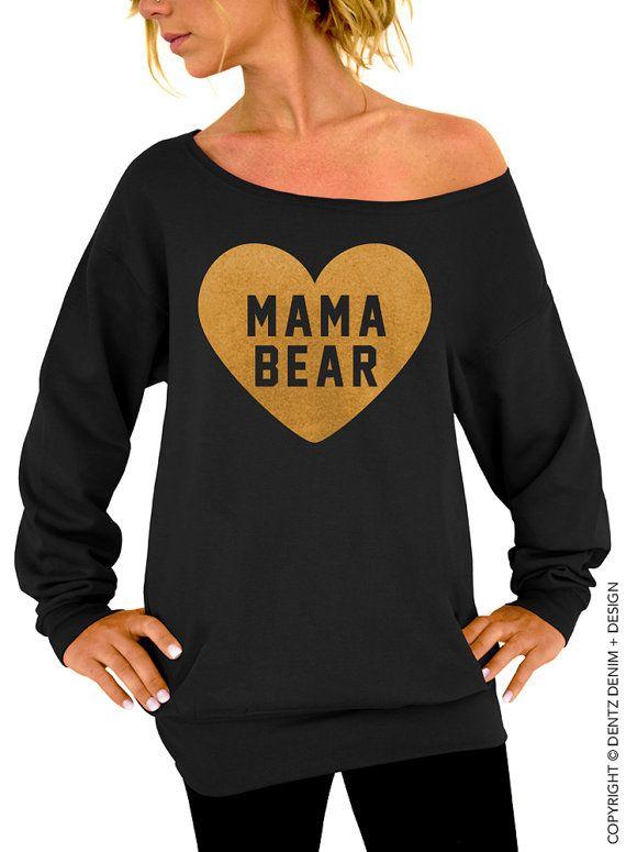 "Use coupon code ""pinterest"" Heart Mama Bear Sweatshirt - Black with Gold Slouchy Oversized Sweatshirt by DentzDesign"