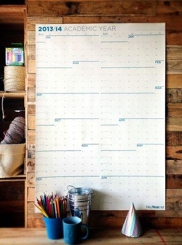 2013-14 Academic Calendar. Whole year at once. Love this calendar!