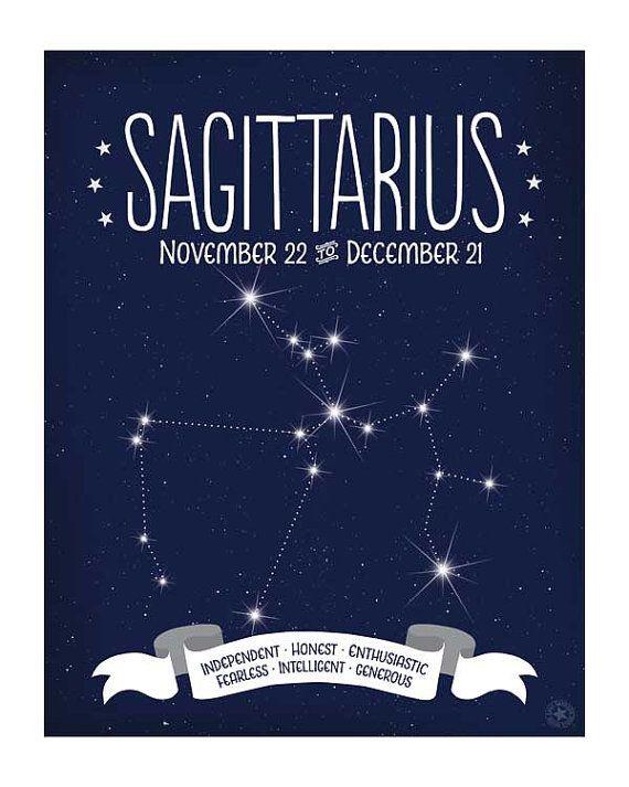Sagittarius Constellation Map Zodiac Sign by AnneGarrisonStudio