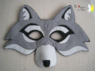 Mascara de lobo en fieltro-elbosquedelulu