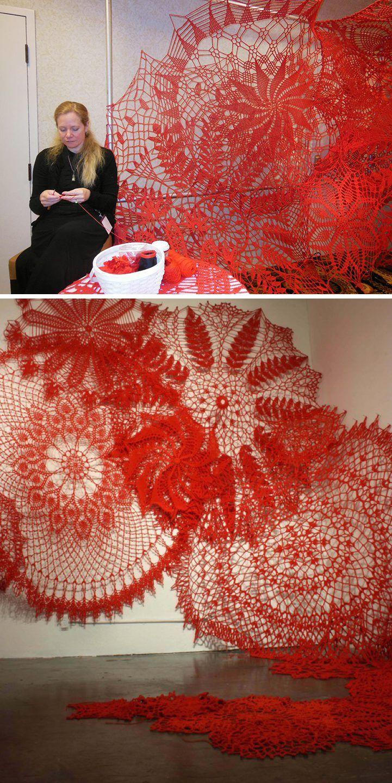 Keeping Up Appearances by Ashley V. Blalock crochet fiber art installation