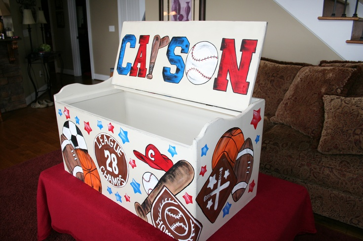 Painted toy box for boy ~  sports themed