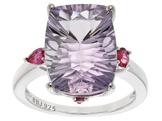 S/S 7.61ct Rc Cu Orchis Amy/.33ctw Ov/Rd Red Spinel Rg/Not Szbl/Pltd