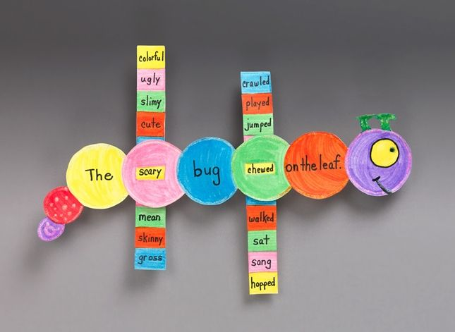 Slider Word Game lesson plan - love this.  Similar to sentence frames but with verbs and adjectives instead of nouns and adjectives.