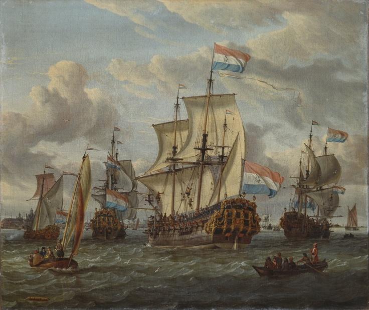 Pieter en Paul Fırkateyni, IJ Nehri'nde /The Frigate Pieter en Paul on the River IJ,  Abraham Storck (1674-1708)