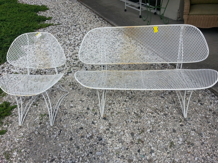 Vintage Salterini Style Patio Bench And Chair | Better Than New Furniture |  Pinterest | Patio Bench, Patio And Benches