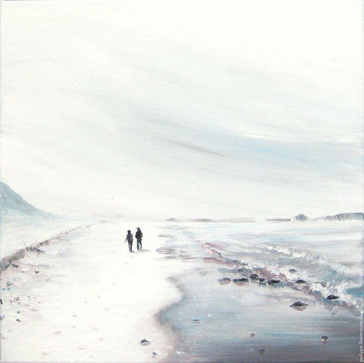 """Купить Картина """"Двое"""" ( живопись, минимализм, светлая картина ) - серый, белый, море"""