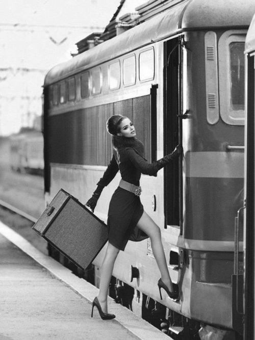 Luxury Travel...Globe trotter.....Beautiful traveler by train, little black dress, high heels and perfect hair! - classic and timeless style!