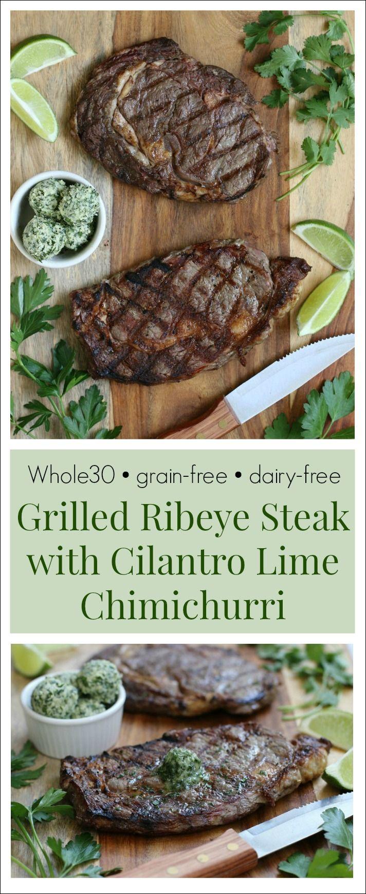 Grilled Ribeye Steak with Cilantro Lime Chimichurri {Whole30, Grain-Free, Dairy-Free}