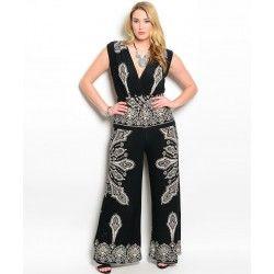 Romper  Jumpsuit paisley print  Black and White plus size ladies