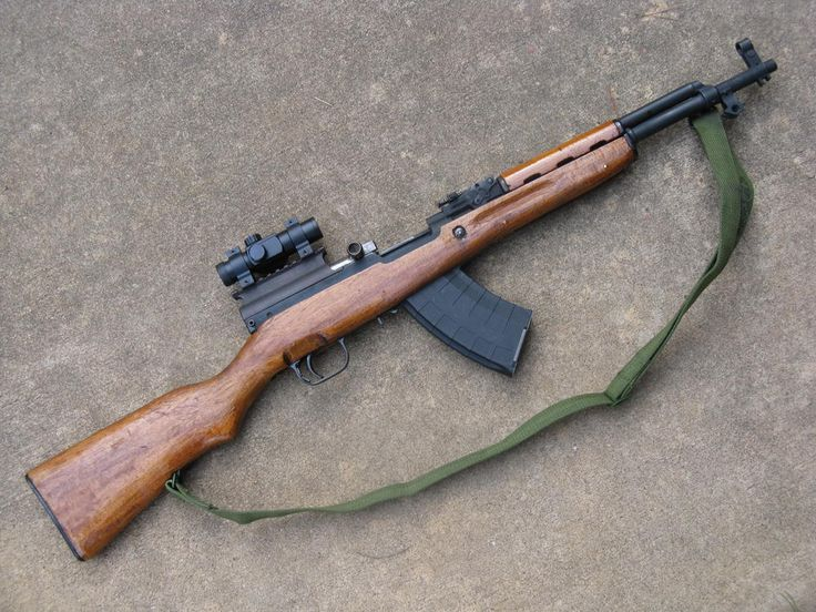 SKS rifle. Affordable to buy shoot. Solid, cheap, bang-around semi-auto.