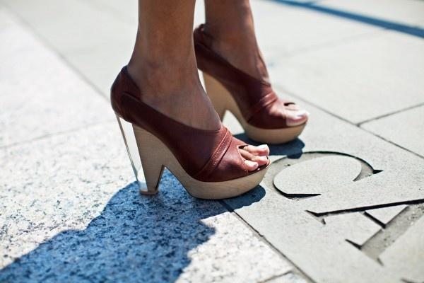 wood & lucite heels