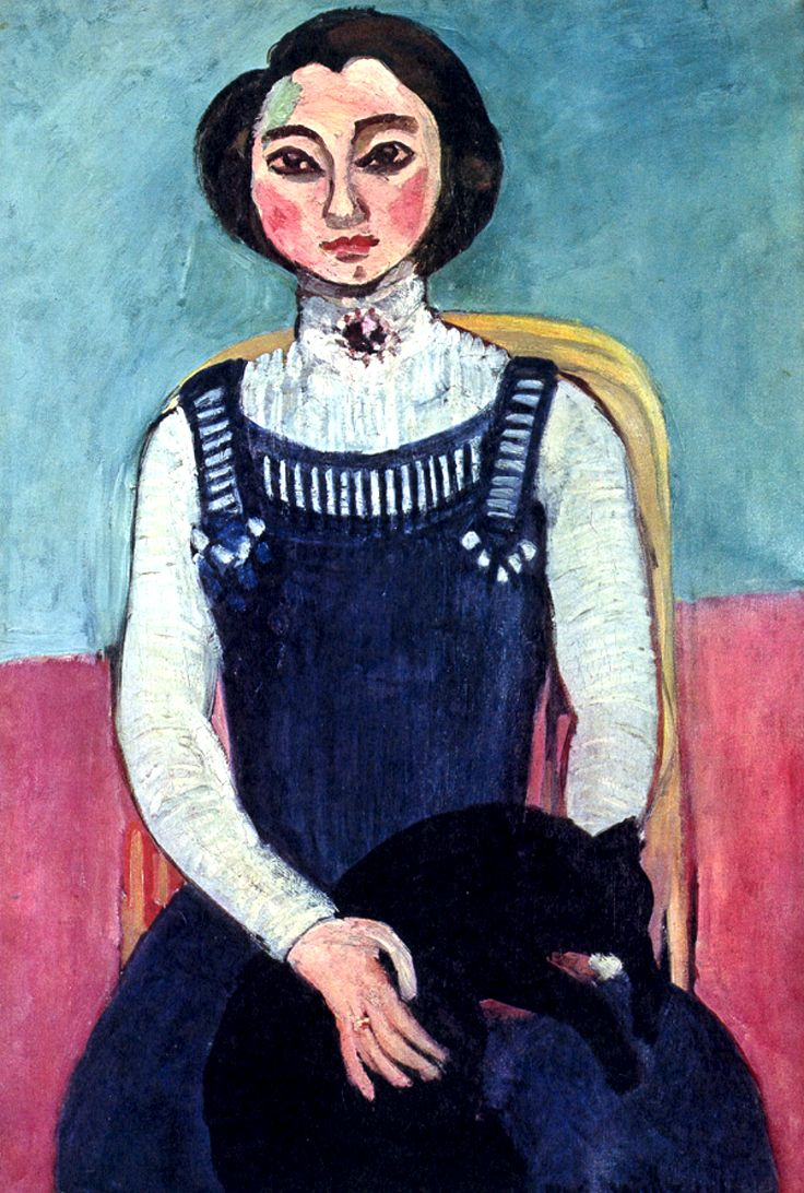 """Indeed, everyone knows the internet is for cat pics and selfies. But, before the internet, and iPhone/Smartphone cameras, people had to resort to having artists do their selfies and #cat pics. Here is such an example, a painting by Henri Matisse: """"Marguerite with a Black Cat"""" - 25""""w x 37""""h - 64 x 94 cm - 1910"""