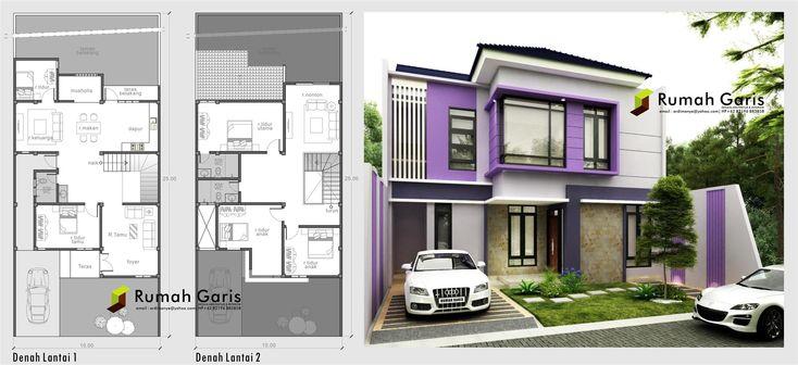 denah dan tampak rumah sehat dan apik 2 lantai dibuat dalam konsep modern minimalis dengan warna yang feminim di atas lahan 10x25 meter
