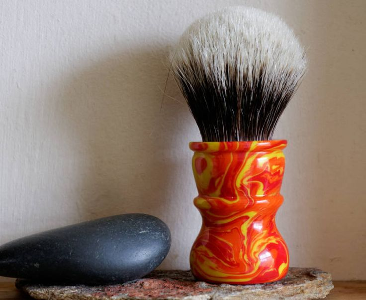 Shaving Brush - Hand-Made with Inferno Resin Handle and a Choice of Knots by LoveYourShave on Etsy