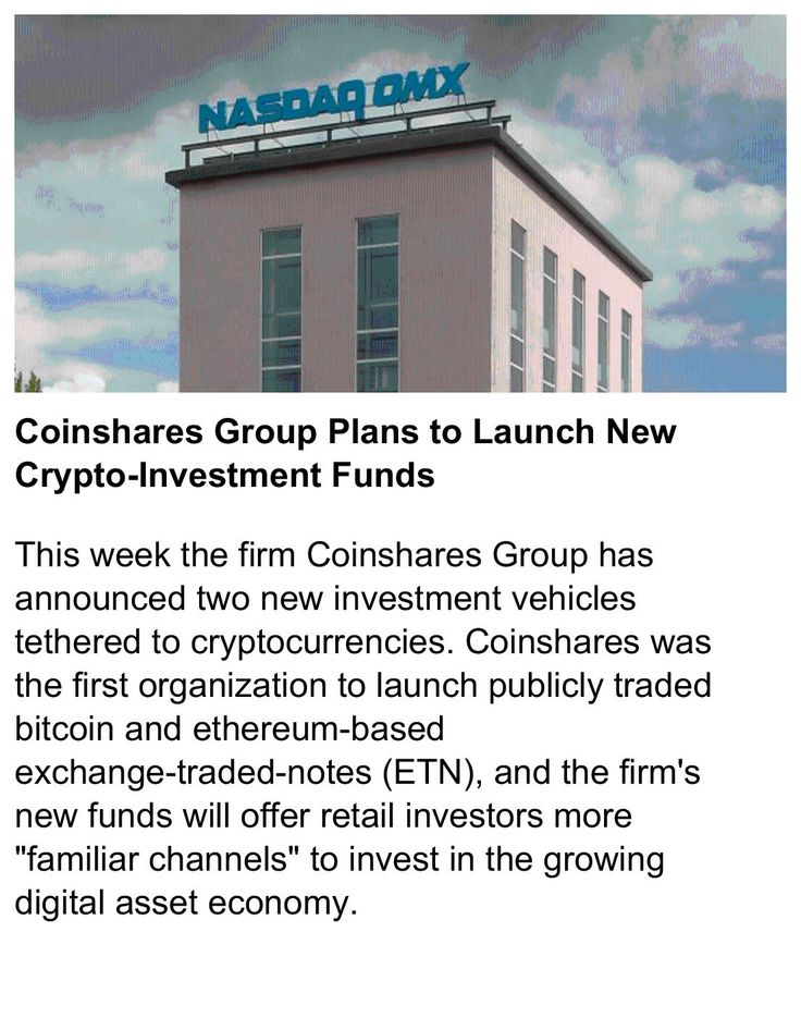 Coinshares Group Plans to Launch New Crypto-Investment Funds    #Coinshares #Cryptocurrency #Bitcoin   https://news.bitcoin.com/coinshares-group-plans-to-launch-new-crypto-investment-funds/