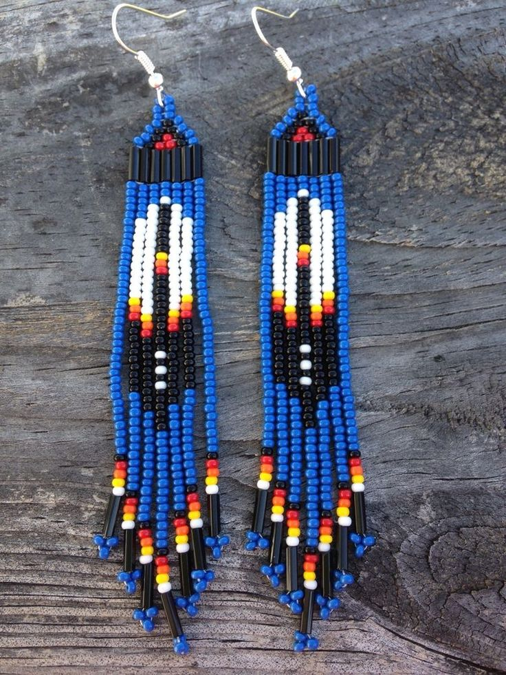 Native American Style 3 3/4 long Blue Beaded Feather Earrings
