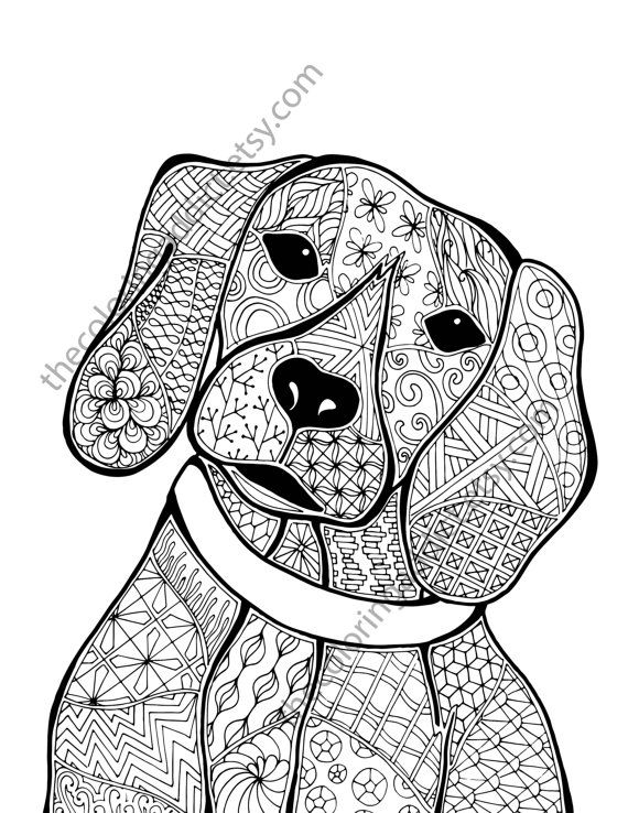 Zentangle Dog Colouring Page Animal Colouring Zentangle Coloring