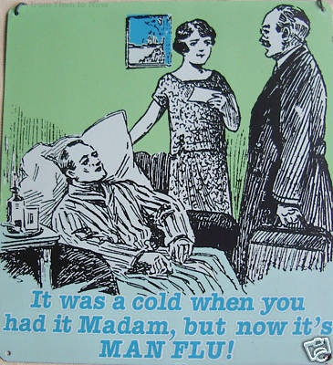 It was a cold when you had it Madam, but now it's MAN FLU!