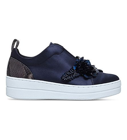 KURT GEIGER LONDON | Loop embellished satin sneakers #Shoes #Sneakers #Skate shoes #KURT GEIGER LONDON