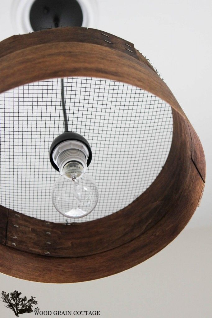 Knock Off Grain Sieve Light Fixture - The Wood Grain Cottage