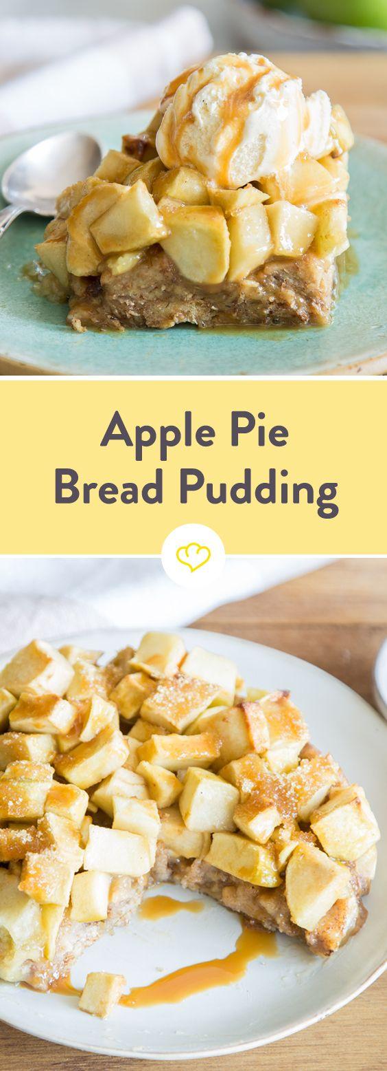 Für diesen Apfelkuchen musst musst du nur Brotstücke, Milch, Eier und Zimt vermengen, alles mit Äpfeln belegen, backen und fertig!