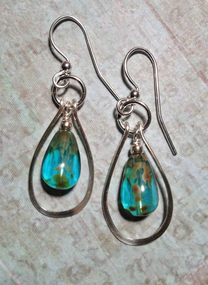 silver wire and picasso bead earrings by lammergeier on etsy - beautiful beads! - mk