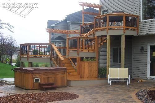 Multi Tiered Backyard : Backyard Ideas, Deck Design, Future Yard, Back Front Yard, Backyard