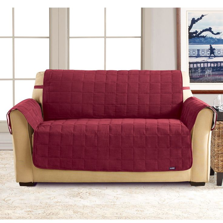sure fit burgundy soft suede waterproof loveseat cover burgundy red polyester solid